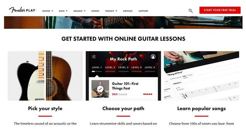 Fender Play Content, Features, and Lessons